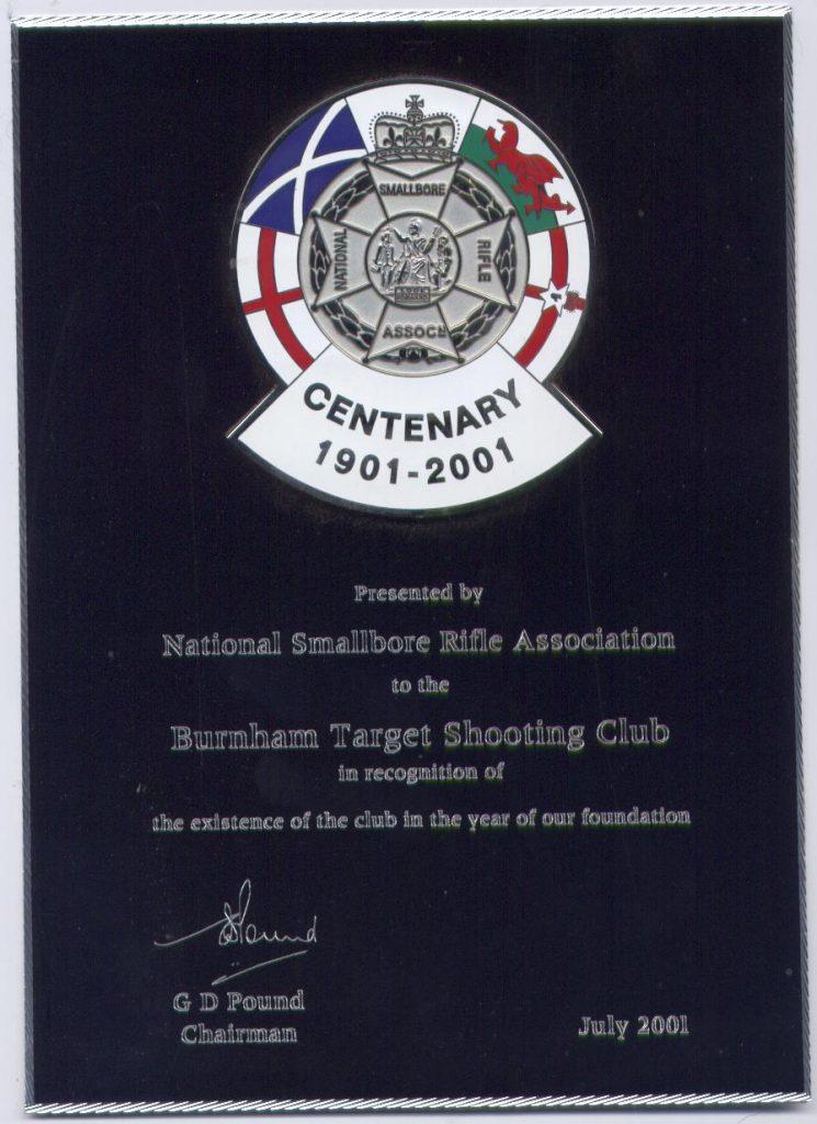 Burnham Target Shooting Club Centenary Award 2001